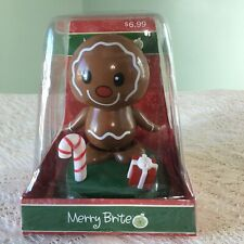 Solar Powered Gingerbread Man Animated Bobble Head Christmas Toy Watch Video New