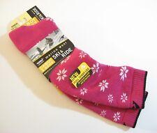Cabot USA Ladies Knee Ski / Ride Socks Merino Wool Blend Snowflake Fuchsia Pink