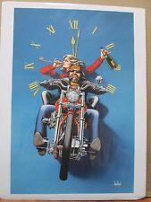 Vintage David Mann Motorcycle Clock Poster E24
