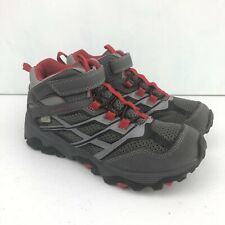 Merrell Kids Moab Mid A/C Waterproof Ankle Boots Size 2.5 Grey Red Hiking Shoes