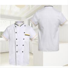 Unisex Chef Jacket Double Breasted Short Sleeve Coat Restaurant Kitchen Uniform