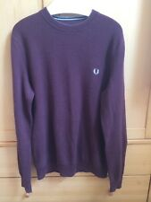 Fred Perry Men's Medium Maroon Ribbed Knitted Jumper with Small Logo - Good Cond