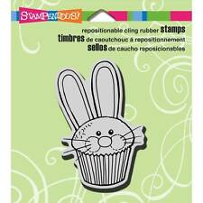 New Stampendous RUBBER STAMP cling CUPCAKE BUNNY EASTER Free us ship