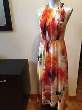 NEW ALICE OLIVIA Ryan Leather Trim Halter Sunset Blur Chiffon Maxi Dress Size 6