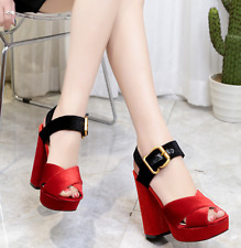 Vintage Women High Heel Ankle Strap Peep Toe Party Clog Platform Sandals Black