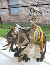 10� Complete Ebony Big Kandy Elephant Figurine Circa 1930 Sri Lanka Silver Plate