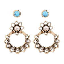 Fashion Vintage Topaz Crystal Floral Turquoise Beads Studs Convertible Earrings