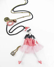 Betsey Johnson CAMEO CRITTERS Kitty Diva Girl Pendant Long Necklace NEW