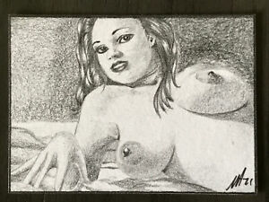 ACEO original Graphite Pencil Sketch Card Art nudes woman female Erotic