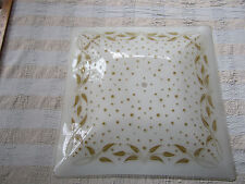 VINTAGE SQUARE GLASS LAMP SHADE leaves polkadot design