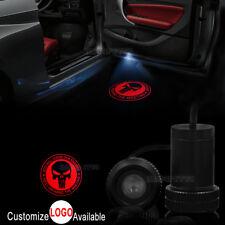 2x Red Punisher Skull Logo Logo Car Door LED Laser Projector Ghost Shadow Light