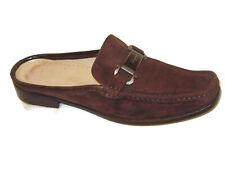 Salvatore Ferragamo Mules Slides Loafer Women Sz 8.5 B Brown Suede Leather Shoes
