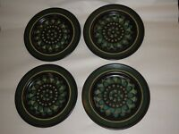 "Set of 4 Mikasa 7500 Terra Stone Firenze 7 5/8"" Salad Plates Brown Teal Blue"