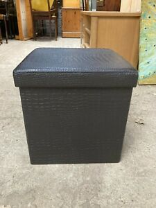 Modern Black Faux Leather Footstool Pouffe with Storage Toy Box Snakeskin Effect