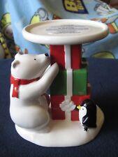 Bath & Body Works Ceramic Polar Bear Penguin Presents Candle Holder Pedestal
