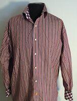 Thomas Dean Long Sleeve Dress Shirt Large Purple Pinstripes # 126508