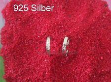 925 Silber- Herren Klapp-Creolen,  Stern Muster verarbeitet, klein,14 mm ° Paar