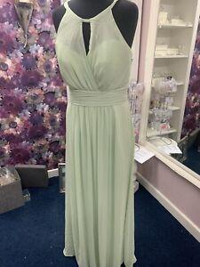 Jasmine Ex Demo Sage Green Bridesmaid Evening Prom  Dress Size 16 B203004