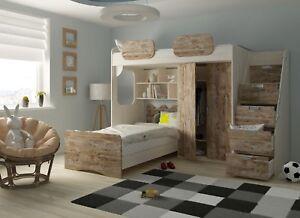 Etagenbett Geko mit Schrank 2 verschiedene Farben  Kinderzimmer 90 x 200