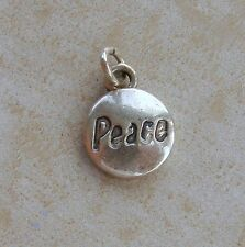 Peace Round Circle Sterling Silver Charm