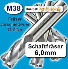 6mm Fräser L=68mm Z=2 Schneiden M38 Schaftfräser für Metall Kunststoff Holz etc