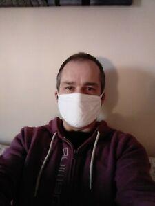 10 x White Bulk Wholesale Cotton Face Masks 2 cotton layers. Washable / Reusable