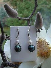 Silber Ohrringe mit echter Tahitiperle, Silber 925