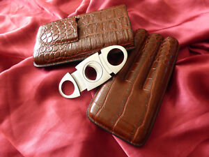 Leather Holder 3 Tube Travel Cigar Case with cutter-Brown