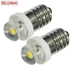 2 x E10 0.5W LED Bulb Screw 3V 4.5V 4.8V 6V 12V 15V Torch Flashlight Lamp White