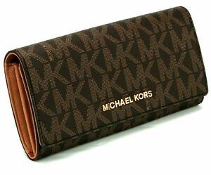 NEW Michael Kors MK Signature PVC / LEATHER Wallet FULTON Flap Continental NWT