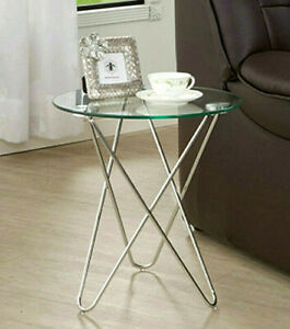 Chromed metal base snack accent end table with clear round glass top