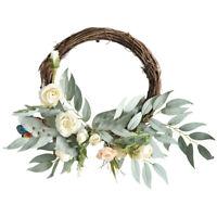 Artificial White Rose Garland Silk Flower Wedding Garden Wall Hanging Decor