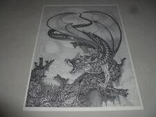 Vintage Dan Thompson Print Dragon Fantasy Drawing Mythical Art Sketch Graphic >>