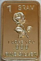 1 Gram .999 Fine Pure Solid Silver ~ Min Art-Bar ~  I Love You - with Rose ~