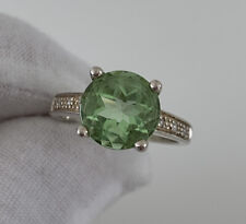 Stone Ring, 925 Solid Silver Large Green