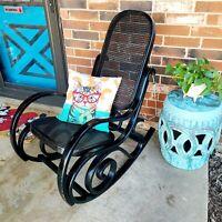 Black Vintage Bentwood Rocking Chair Mid Century Thonet Style Lattice