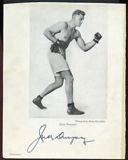"Jack Dempsey signed 5 1/2"" x 7"" Magazine Page -  Heavyweight Boxing  H.O.F."