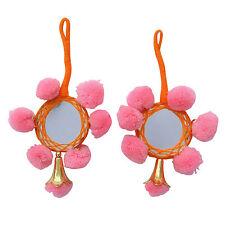 Beaded Pink Pom Pom Tassels Craft Supply Sari Latkans Sewing Accessory By 1 Pair