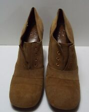 "Tory Burch ""Stella""  Camel Suede Square-Toe Ankle Bootie Pump Sz 10 (014)"