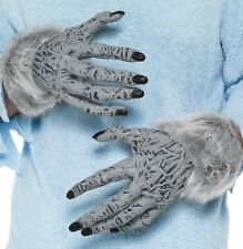 Halloween Fancy Dress Werewolf Hands Monster Gloves Grey New by Smiffys #24980