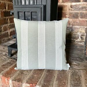 1108. Sage Green Stripe Poly Cotton Cushion Cover, Various sizes