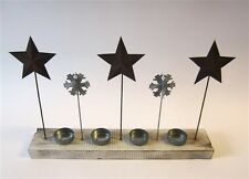 Tin Star and Snowflake T-Light Candle Display * Christmas - Xmas by Shoeless Joe