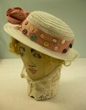Vintage Ladies Girls Straw HAT Buttons + Red Checker Bow shell ivory bakelite