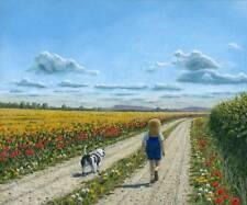 """Superbe originale de Richard Harpum M.A (Camb) """"oscar et moi"""" peinture à l'huile"""