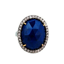Lapis Gemstone Diamond Pave 925 Silver Cocktail Ring 14k Gold Fine 7' Jewelry CY