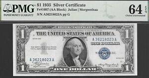 FR# 1607 $1 1935 SILVER CERTIFICATE  A-A BLOCK PMG 64 EPQ L@@K NR