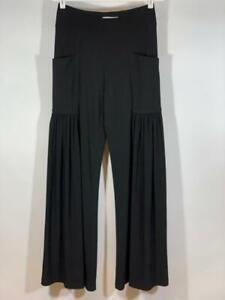 JOSEPH RIBKOFF Matte Jersey Extra Wide Leg Pockets Black Pants Size 8