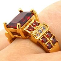 Antique Vintage Ruby Solitaire Ring Women Wedding Engagement Jewelry Gift Box