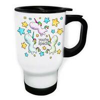 Unicorn You Are Special  White/Steel Travel 14oz Mug o821t