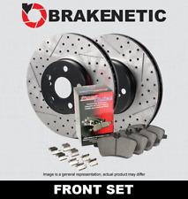 [FRONT] BRAKENETIC PREMIUM Drill Slot Brake Rotors + POSI Pads w/BREMBO BPK27747